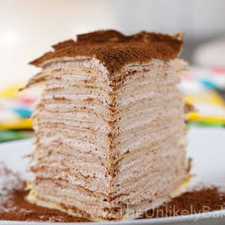 Crepe Cake with Whipped Chocolate Mascarpone Cream.