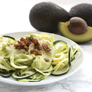 Creamy Avocado & Bacon Zoodles.