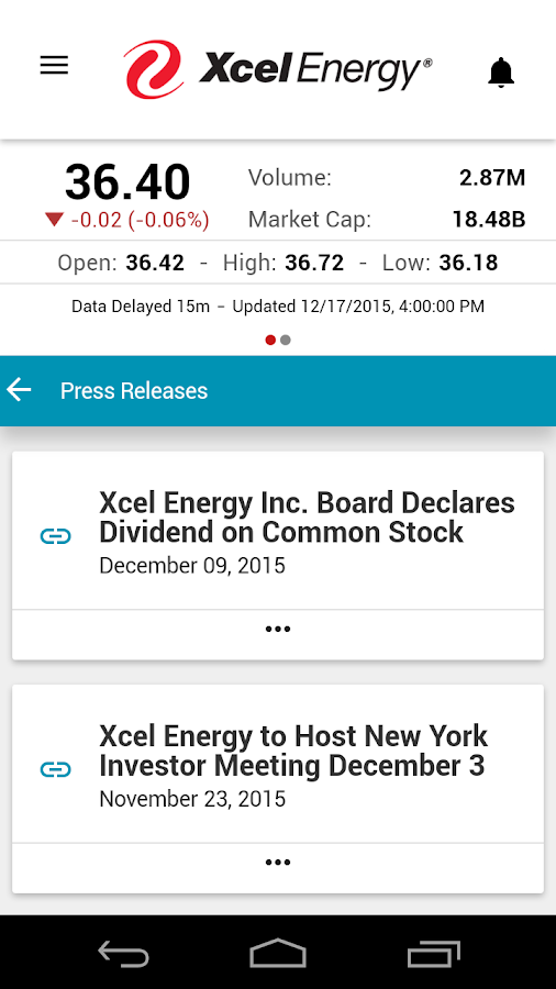 Xcel Energy Investor Relations- screenshot