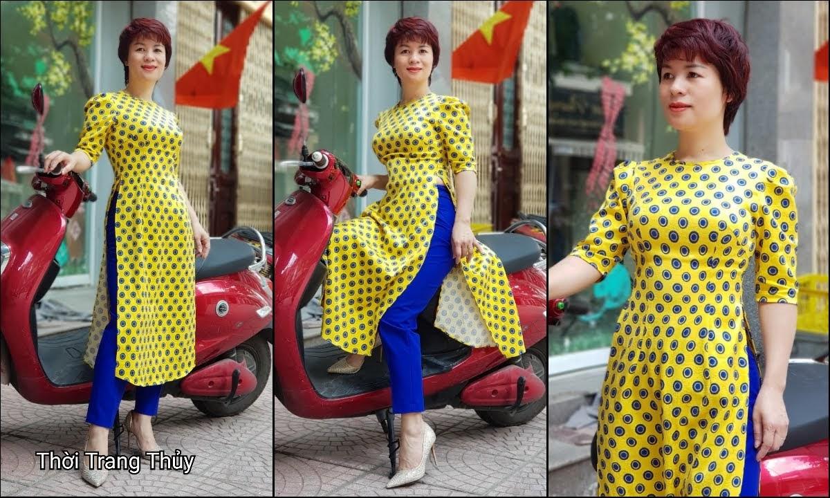 Áo dài cách tân chấm bi màu vàng xanh V704 thời trang thủy