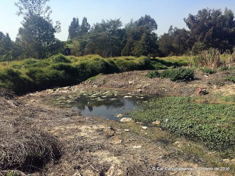 Espejo de agua seco y basuras expuestas