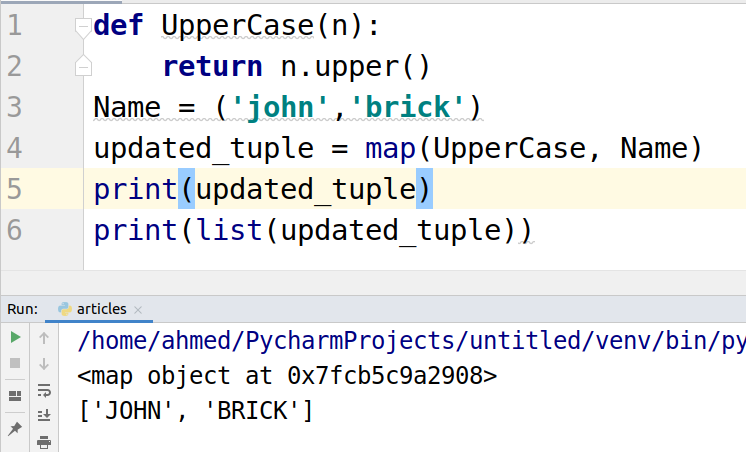 map function on tuples