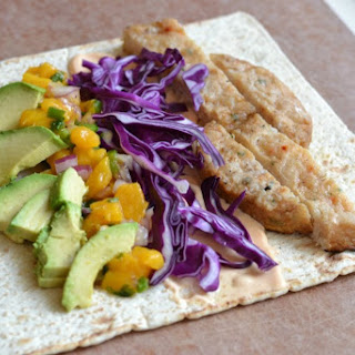 Grilled Fish Wrap Sandwich with Fresh Mango Salsa.