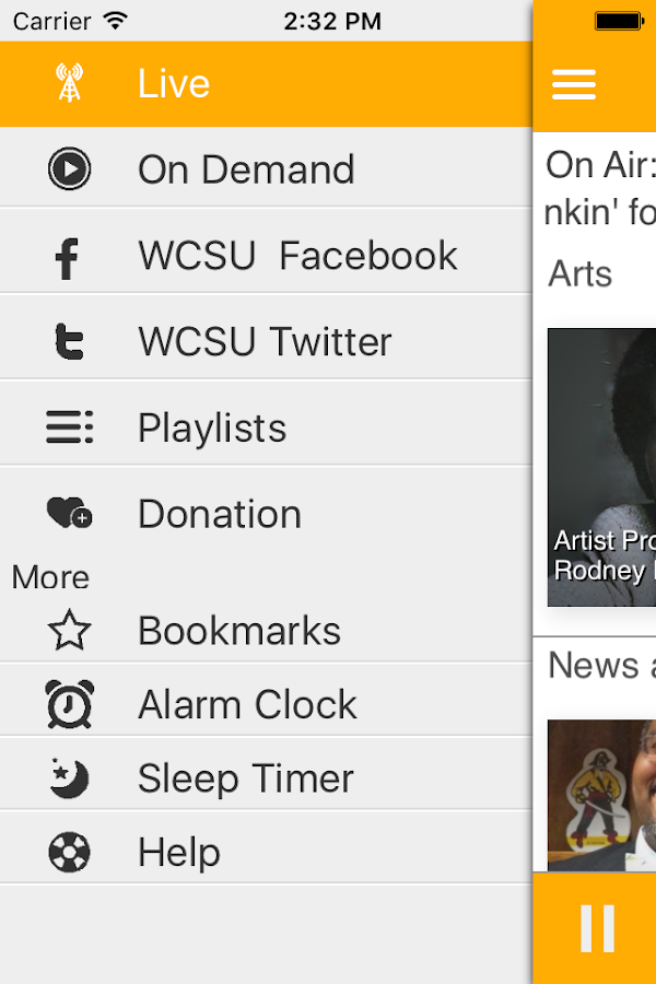 WCSU Public Radio App- screenshot