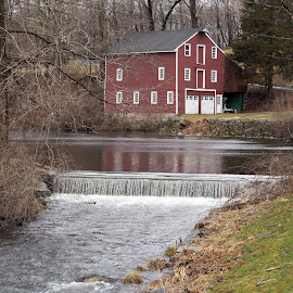 Barn by waterfall by Renee LaFlesh - Buildings & Architecture Decaying & Abandoned (  )