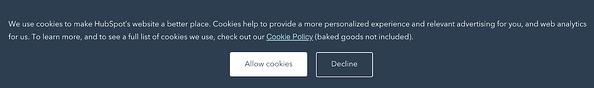 Un banner que solicita a los usuarios permiso para utilizar cookies.