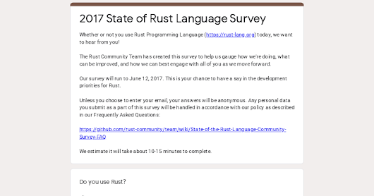 2017 State of Rust Language Survey