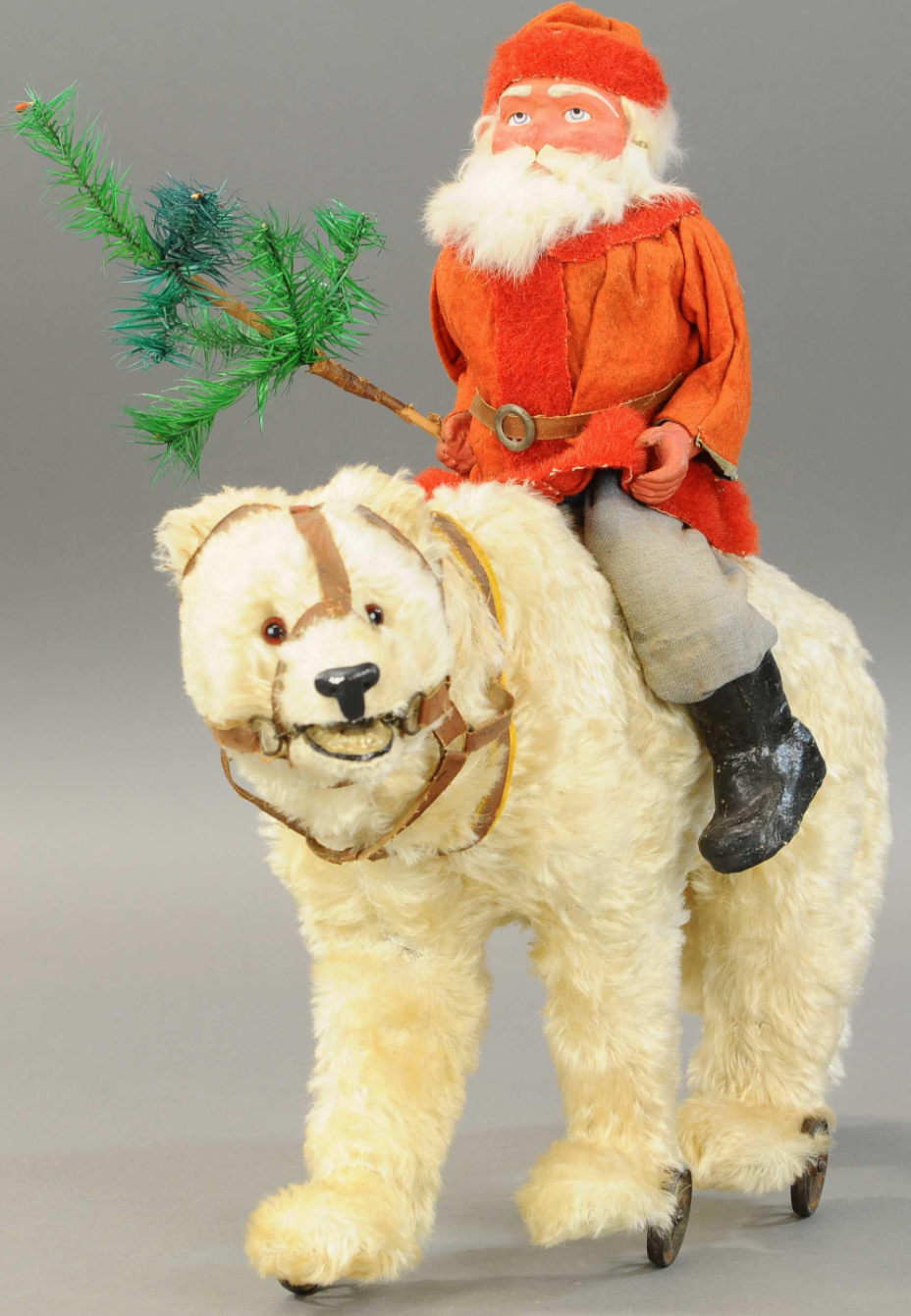 Santa on a growling polar bear. Photo courtesy of Bertoia Auctions of Vineland, NJ.