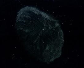 """Photo: NGC 6888, """"le croissant"""", rémanent d'étoile de type Wolf-Rayet, dans le Cygne. Vu dans le T1000 de Stellarzac le 22/08/2012 à des grossissements de 202X et 285X, par excellent seeing et avec un filtre OIII."""