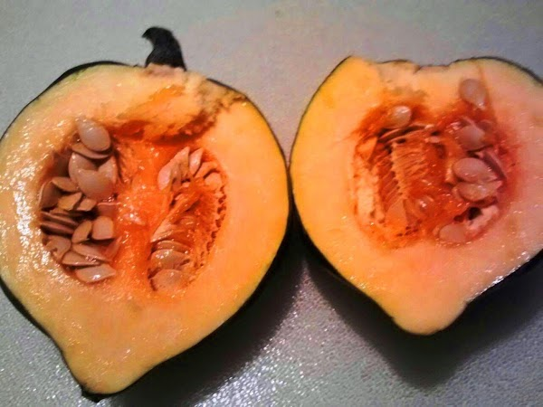 Rub acorn squash with oil. Place in a Pyrex casserole dish, filling the bottom...