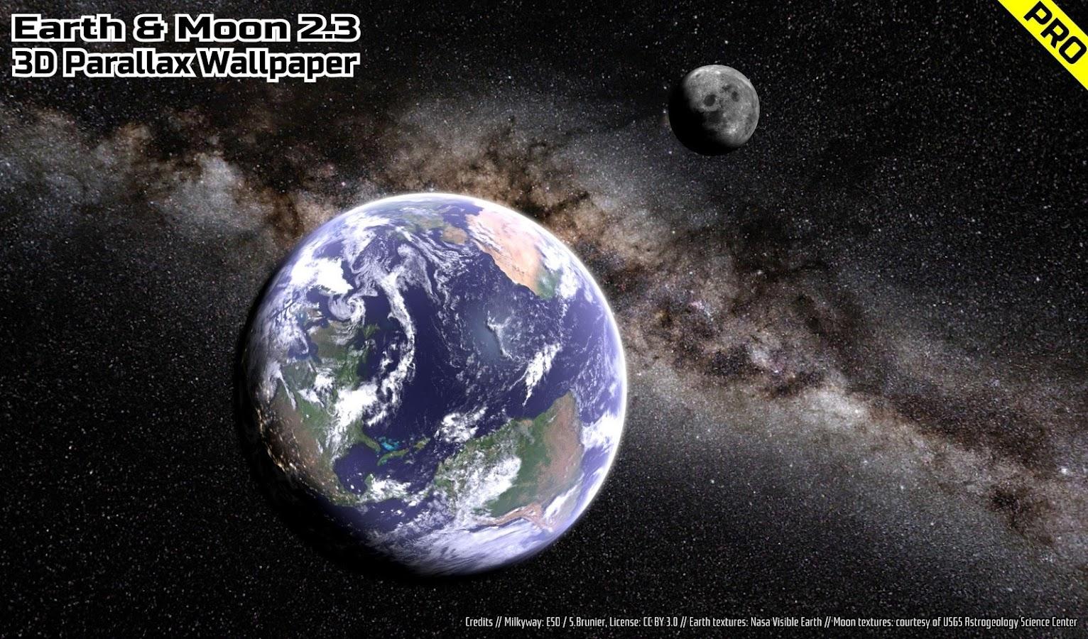Parallax 3d Effect Wallpaper Pro Earth Amp Moon In Hd Gyro 3d Pro Parallax Wallpaper