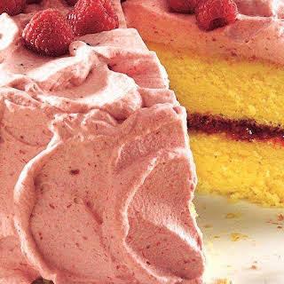 Lemon Cake with Raspberry Mousse.