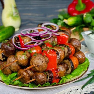Skewers Of Mushrooms And Eggplant