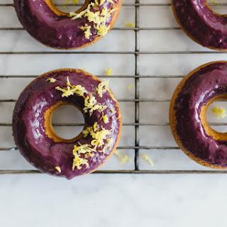 Baked Lemon Donuts with Blackberry Glaze