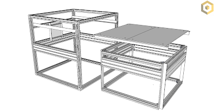 Photo: (Left) Outer Frame with Backplane, (Right top) open electrical/electronics panel (Right Bottom) Mechanical Module