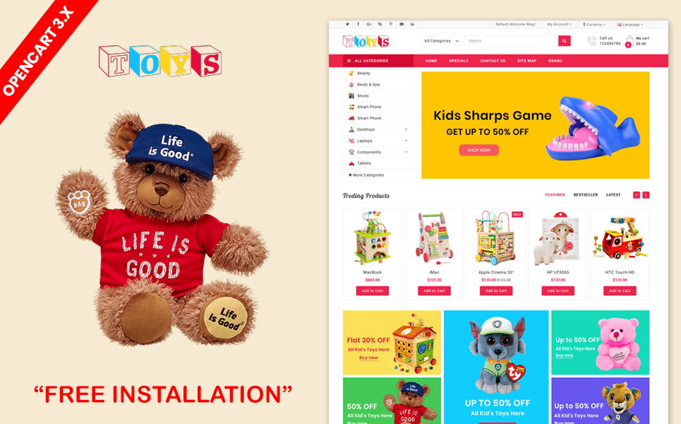 Toys & kids Opencart template