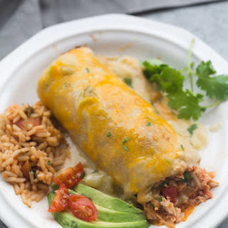 Smothered Green Chile Chicken Burritos.