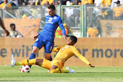 Bradley Grobler of SuperSport United and Siyabonga Ngezana of Kaizer Chiefs during the MTN8 semi final 1st Leg match between SuperSport United and Kaizer Chiefs at Lucas Moripe Stadium on August 26, 2018 in Pretoria, South Africa.