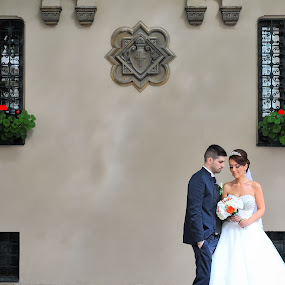 Vintage background by Costi Manolache - Wedding Bride & Groom ( bucharest, beautifull, old city, flowers, bride, groom )
