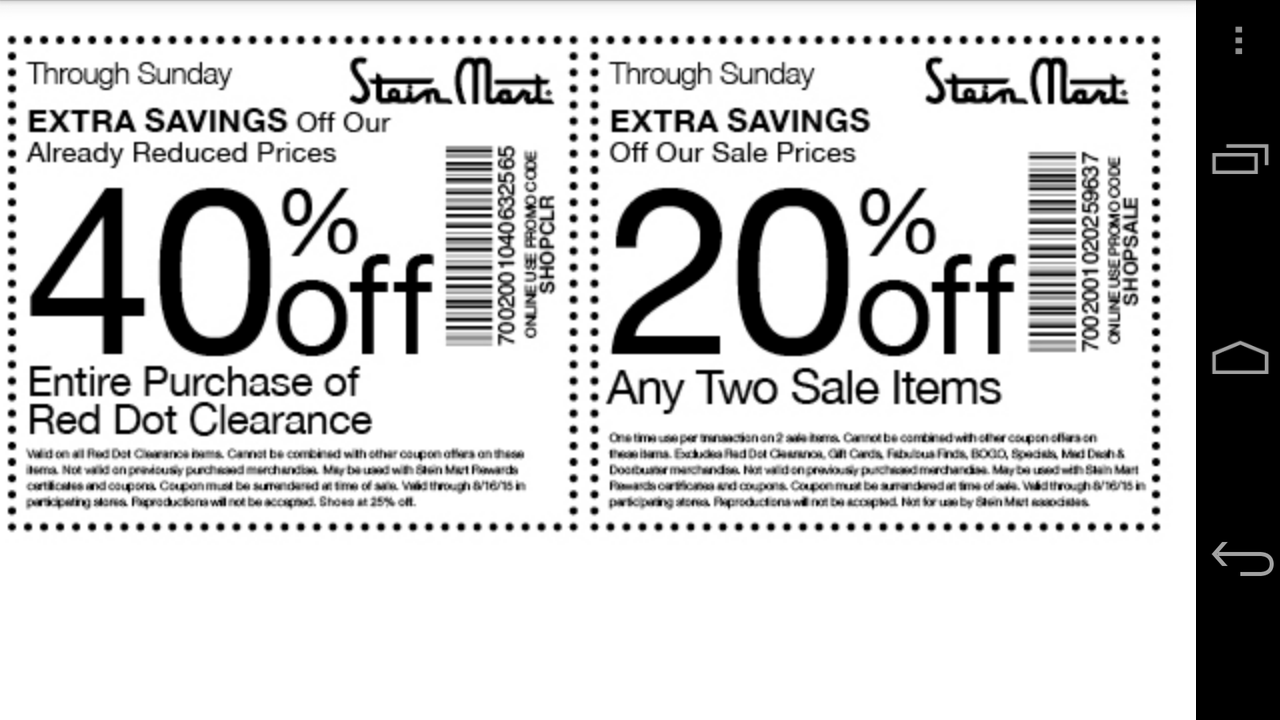 Steinmart coupon code