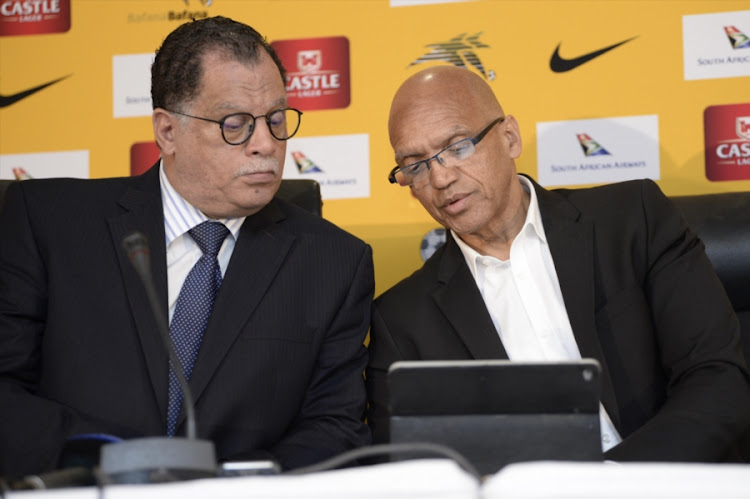Safa president Danny Jordaan (L) and CEO Dennis Mumble (R) during the special announcement at SAFA House.