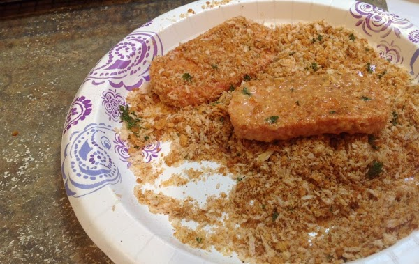 Combine the panko with the parmesan cheese, & other spices in a large zip...
