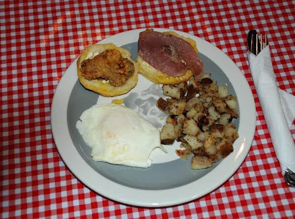 This Ham Oyster Biscuit Tastes Great With Eggs And Home Fried Potatoes