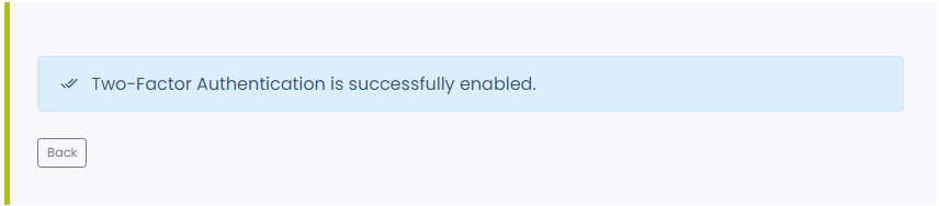 Message indicating that 2FA is enabled