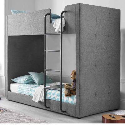 Aprodz Gwars Single Size Solid Wood Grey Fabric Bunk Bed