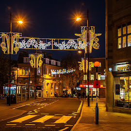 Christmas Street lights. by Simon Page - City,  Street & Park  Street Scenes