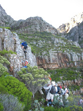 Photo: The rock pitch on the buttress on the left to avoid the Ravine obstacle