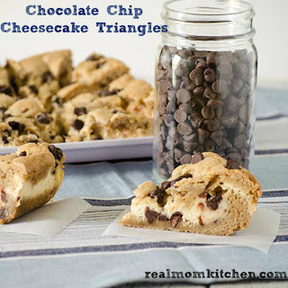 Chocolate Chip Cheesecake Triangles