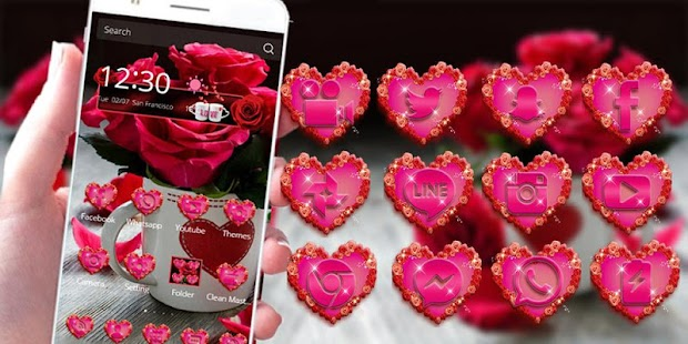 Download Android App Red Rose Theme Love Valentine for
