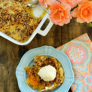 Peach Pineapple Dump Cake with Walnuts