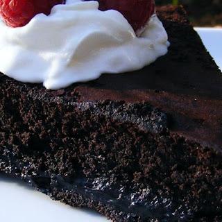Warm Flourless Chocolate Cake with Caramel Sauce.