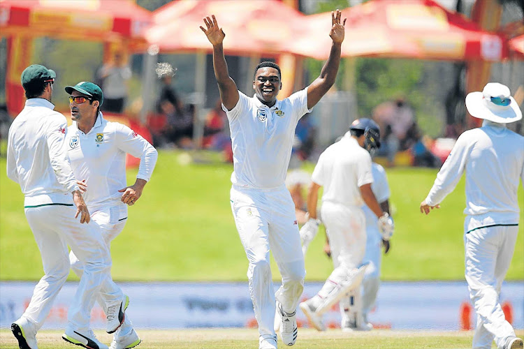 South African bowler Lungi Ngidi, centre, will miss the Proteas' home series against Pakistan and Sri Lanka due to injury