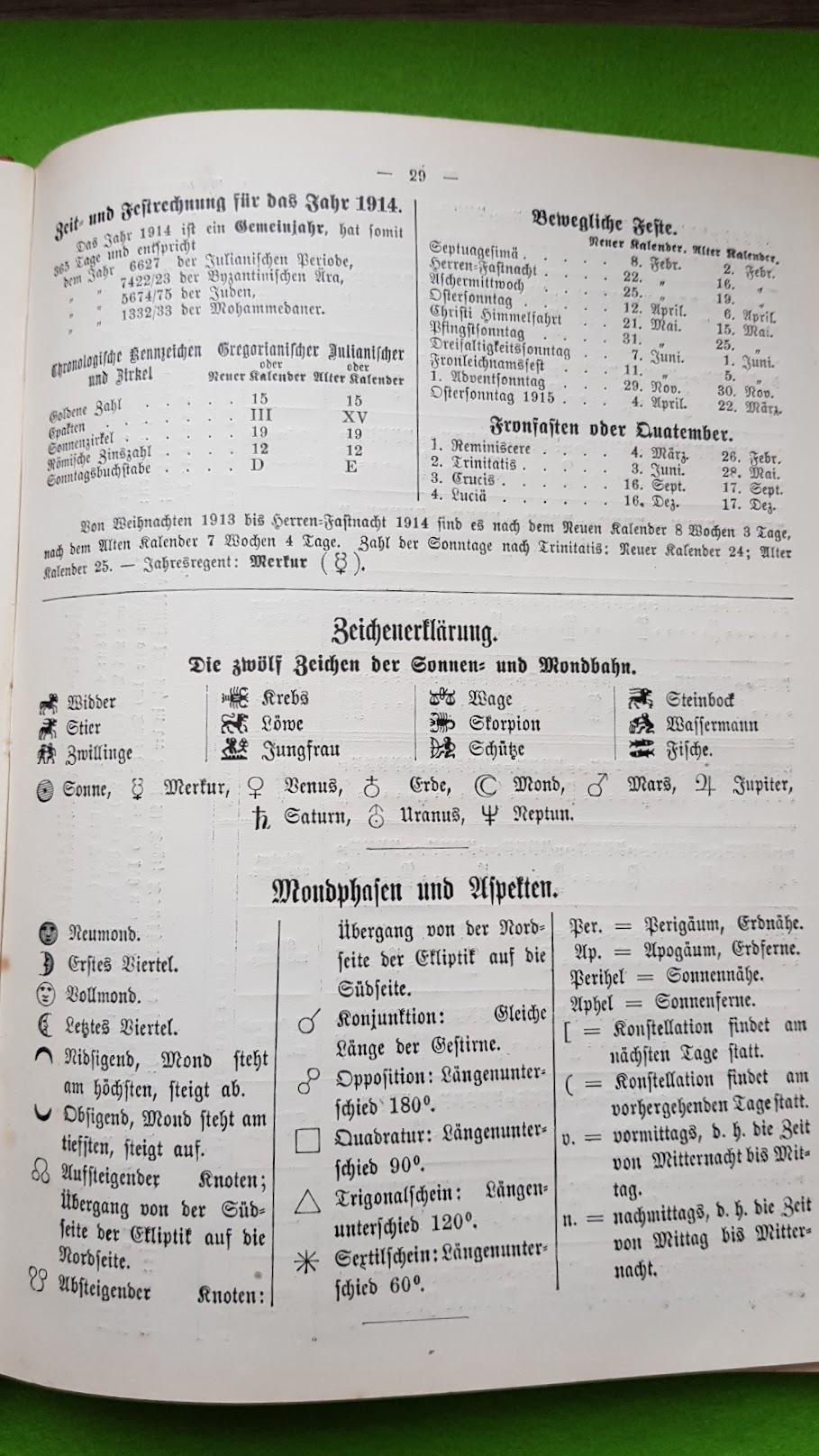 Großer Volkskalender des Lahrer hinkenden Boten - 1914 - Epakten, Chronologische Kennzeichen und Zirkel, Quatember, Bewegliche Feste