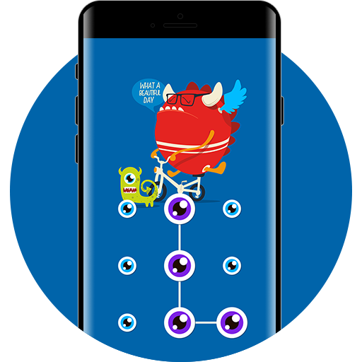 Cartoon APP Lock Theme Monster Pin Lock Screen