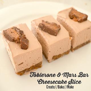 Toblerone and Mars Bar Cheesecake Slice