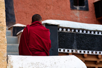Photo: Monk waiting for the morning Puja, Thikse Monastery, Ladakh, Indian Himalayas