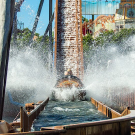 Log ride splash by Mark Luyt - City,  Street & Park  Amusement Parks ( water ride, log ride, amusement park, splash, water )
