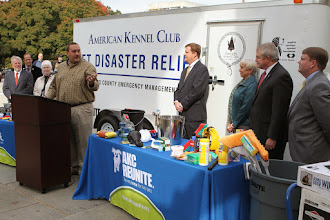 Photo: Chris Murray (Pamlico County Emergency Management ) speaks while accepting the Pet Disaster Relief Trailer.  Credit: Robert Young (c) American Kennel Club