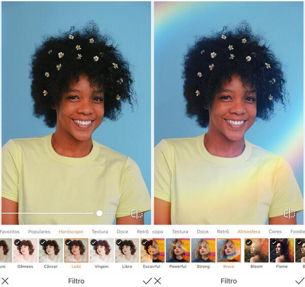 Foto de uma mulher negra com florzinhas no seu black power, sendo editada pelo AirBrush com Filtro