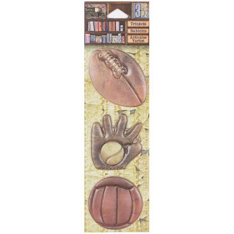 7 Gypsies Architextures Trinkets Adhesive Embellishments - Play Ball UTGÅENDE