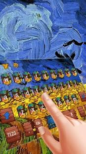 Van Gogh wheat field painting keyboard - náhled
