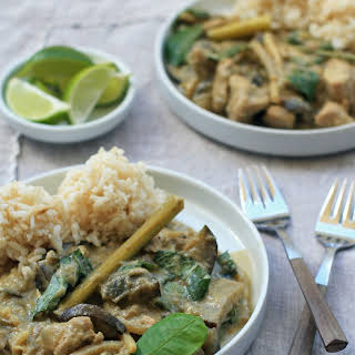 Spicy Thai Green Curry with Chicken, Eggplant and Bamboo Shoots.