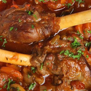 Savory Slow Cooker Lamb Shanks With Rosemary And Mushrooms