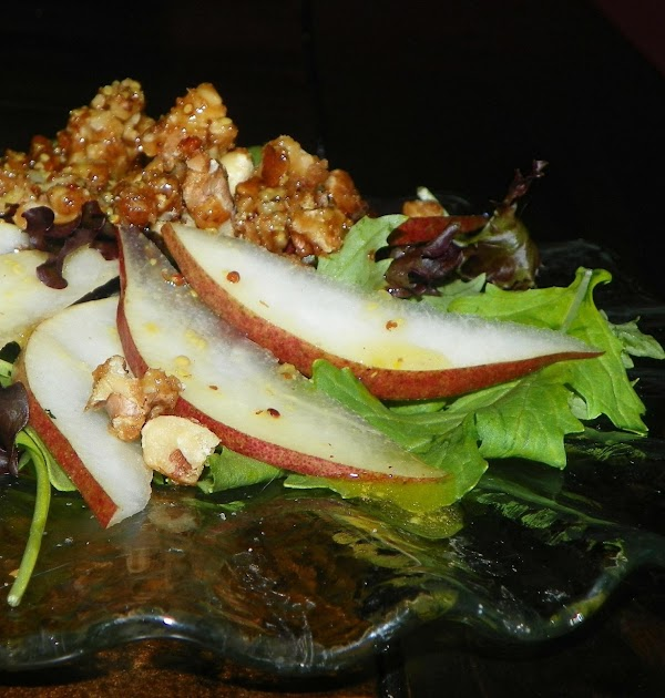 Candied Pecan, Pear, And Leafy Green Salad Recipe