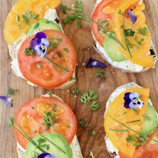 Open Faced Tomato Avocado Sandwiches with Goat Cheese.