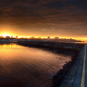 Sunset Point by Don Guindon - City,  Street & Park  Historic Districts ( reflection, hdr, ogden point, sunset, breakwater, ocean, victoria, walkway, sunrise )